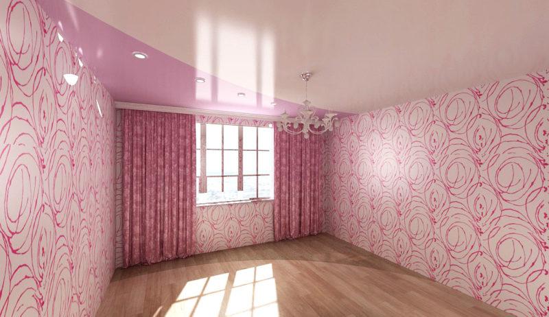 комната в розовом цвете с двухцветным натяжным потолком