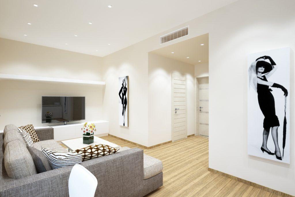 Матовый потолок в студии со стилем минимализм