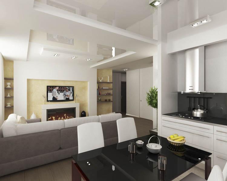Потолок делит комнату на две части