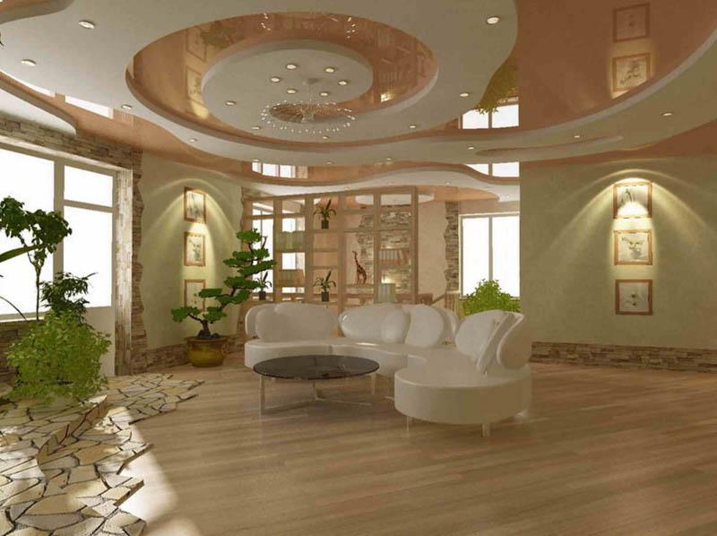 Сложный потолок в большой комнате