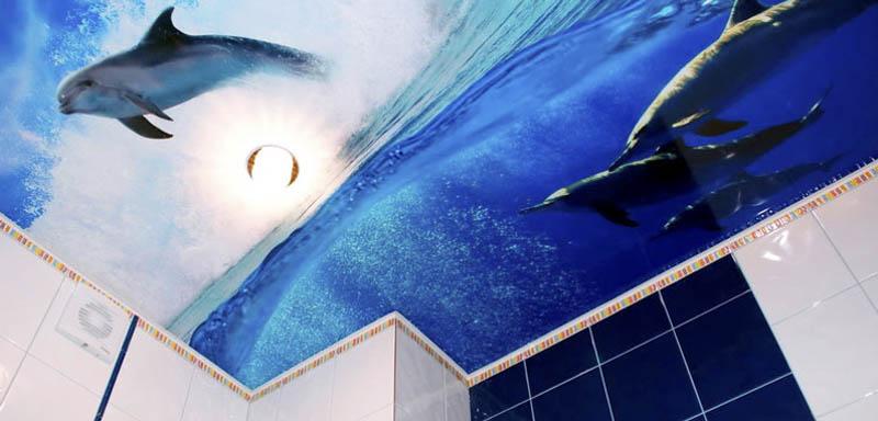 потолок в ванную с морской тематикой