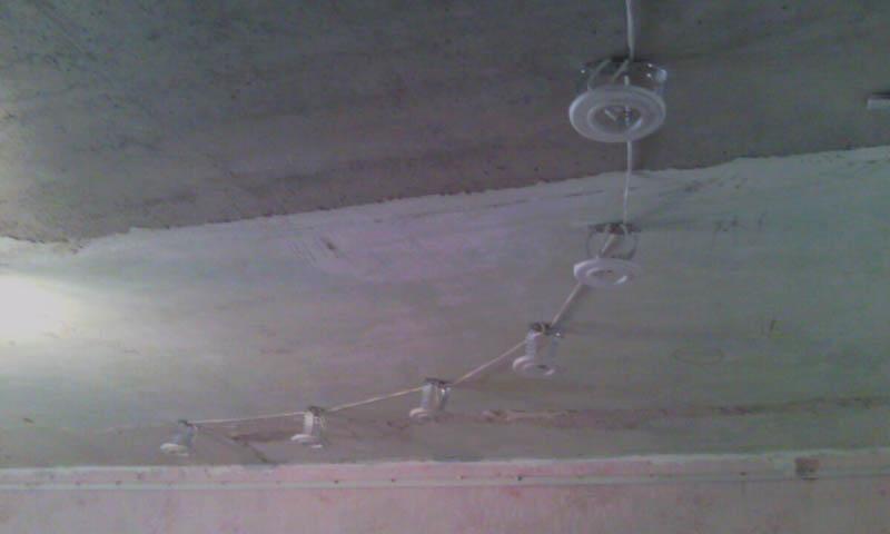 Потолок с закладными под светильники для натяжного потолка