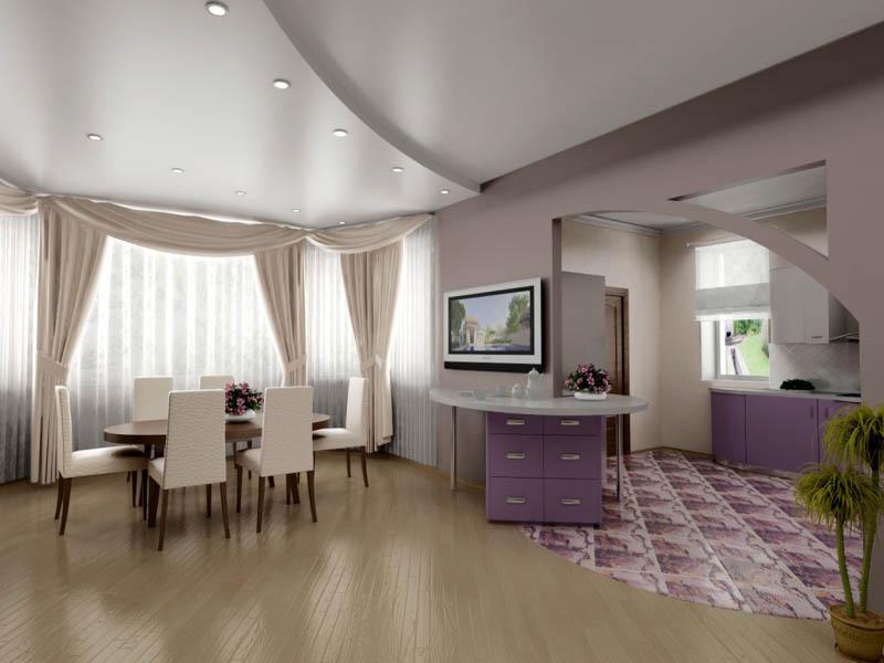 Дизайн интерьера и потолка для большой комнаты