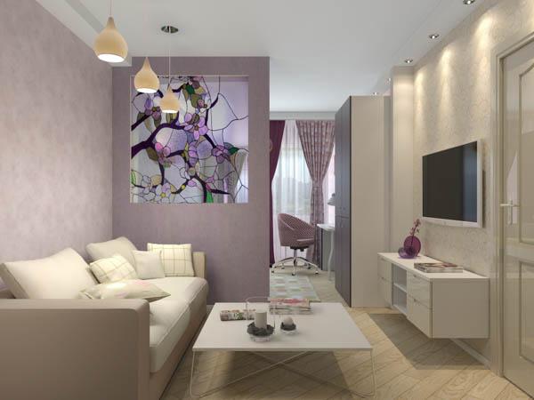 Интерьер комнаты с диваном и освещение над ним