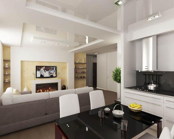 Потолок делит комнату на две зоны