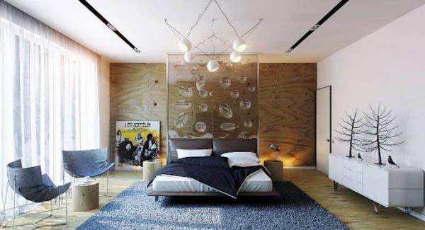 Легкая дизайнерская люстра в спальной комнате