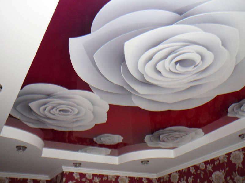 цветы на натяжном потолке