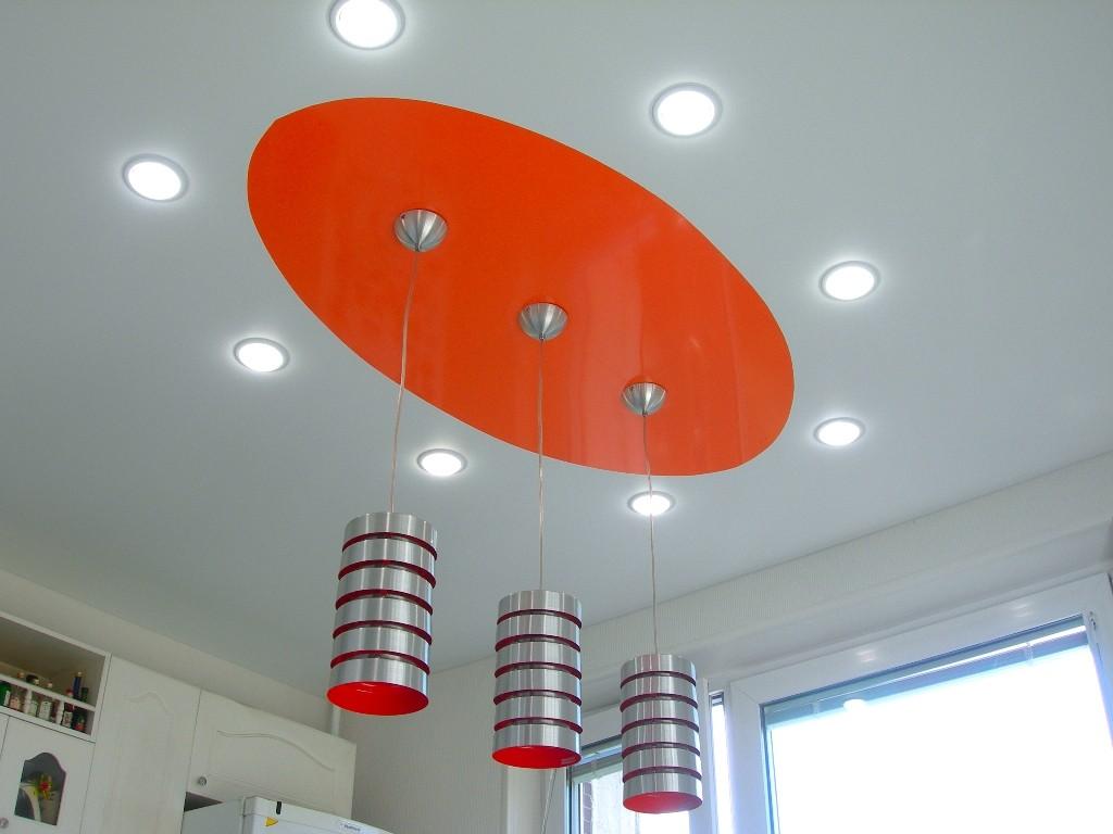 подвесные светильники в кухне