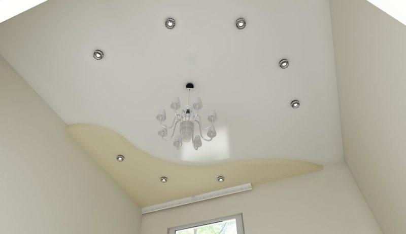 Дизайн потолка: два уровня, декоративные светильники