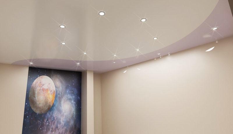 Дизайн комнаты с фотообоями и натяжным потолком