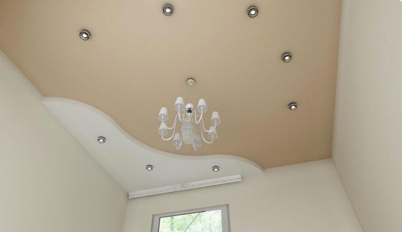 Натяжной потолок в два уровня белый и бежевый