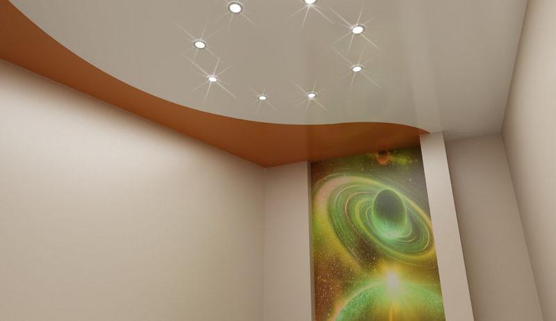 Интерьер комнаты с натяжным потолком