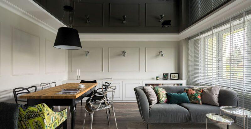 черный потолок в гостиную