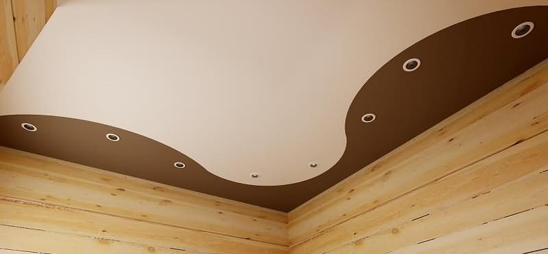 комбинированный натяжной потолок в частном доме