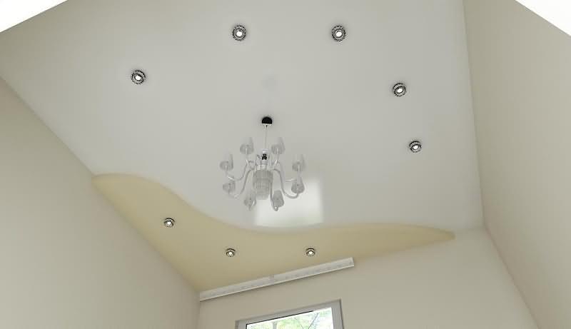 Белый  и бежевый цвет натяжного потолка в два уровня