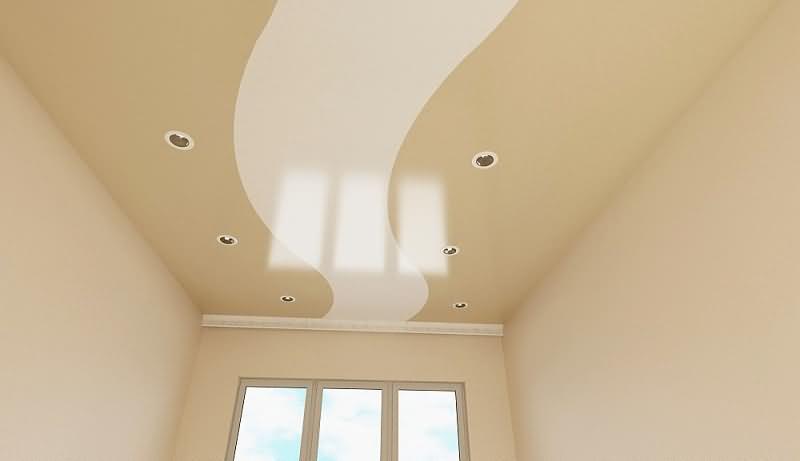 трехцветный натяжной потолок со светильниками