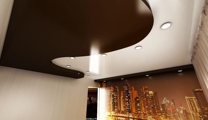 многоуровневые натяжные потолки для гостиной комнаты
