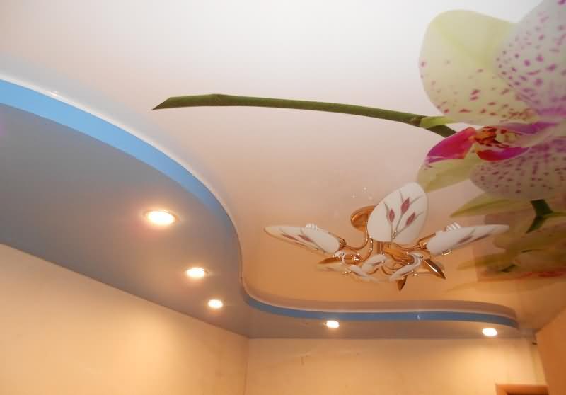 Фотопечать и уровни на натяжном потолке
