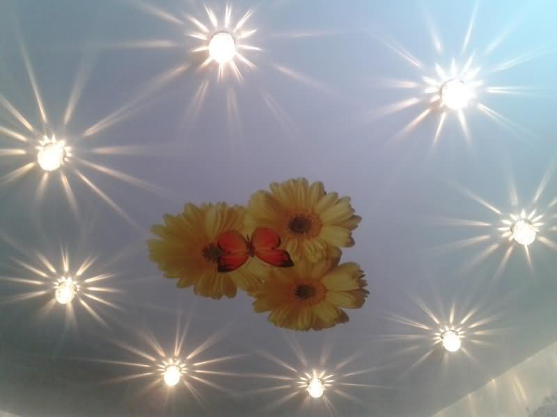 """Натяжной потолок с рисунком """"подсолнухи"""" и декоративным освещением"""