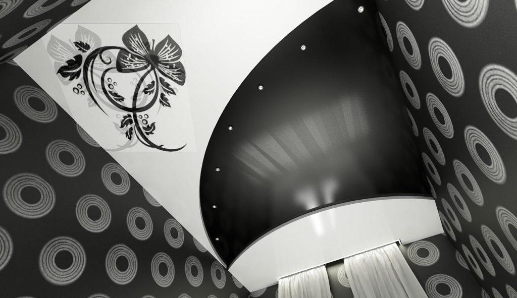 Двухцветные натяжные потолки - в черно-белом цвете