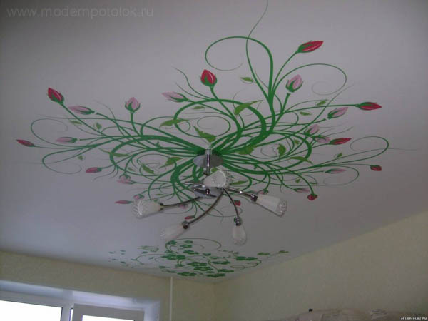 Фотопечать на потолке цветы
